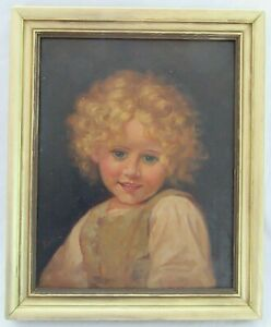 ANTIQUE-ORIGINAL-OIL-PAINTING-LITTLE-GIRL-CHILD-1920-PORTRAIT-FOLK-ART-COUNTRY