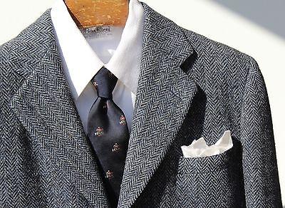 Harris Tweed 38 R Vintage Gentleman's Blue Herringbone 3-Button Sport Coat - USA