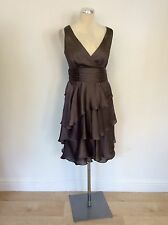 MONSOON MINK BROWN TIERED SKIRT SPECIAL OCCASION DRESS SIZE 8