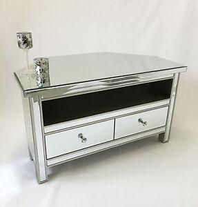 classic mirror glass silver trim 2 drawer widescreen tv corner rh ebay com