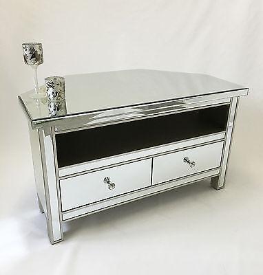 Classic Mirror Glass Silver Trim 2, Mirrored Glass Corner Tv Stand
