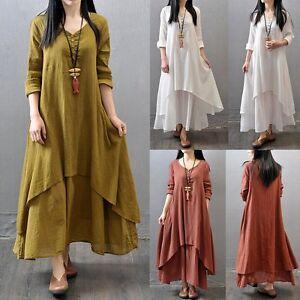 a1b302dc16 Women Ethnic Boho Linen Long Sleeve Maxi Dress Gypsy Blouse Shirt ...
