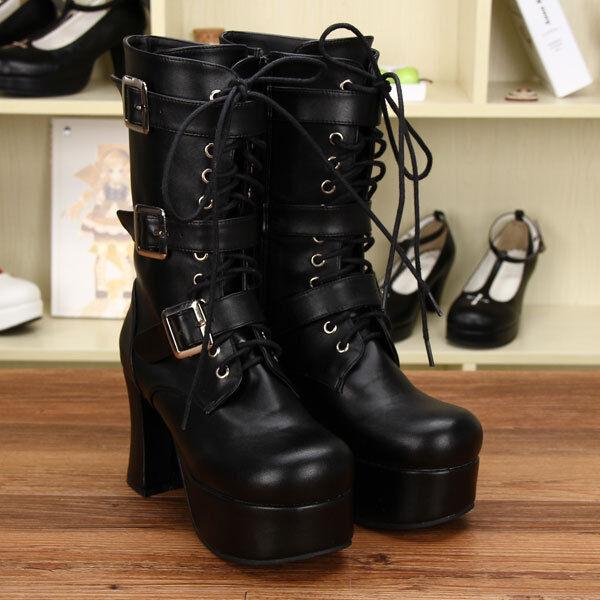 Schwarz Gothic Goth Punk Lolita Damen-stiefel Stiefeletten boots Cosplay Kostüme