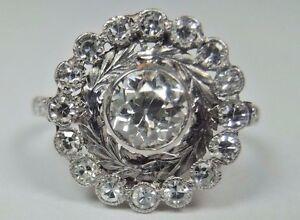 Antique-Art-Deco-Vintage-Diamond-Platinum-Engagement-Ring-Size-6-25-EGL-USA-Fine