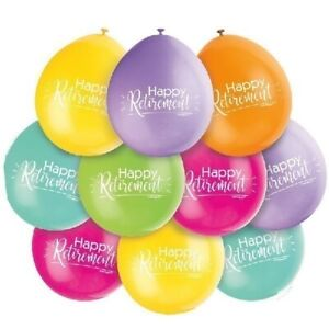10-x-Happy-Retirement-9-034-Latex-Balloons-Mixed-Colours-Air-Fill-Party-Decoration