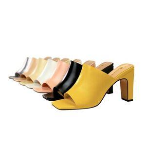 3fa2e6c3a Ladies Mules Shoes High Block Heels Slippers Sandals Open Toe Pumps ...