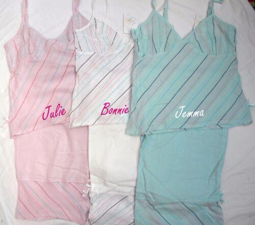 Personalised Ladies cotton cropped leg pyjamas size 8-14 pink white green