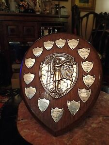 Very-Rare-Girl-Guides-Mounted-Plaque-Nature-Patrol-Silver-Shields-1928-to-1965