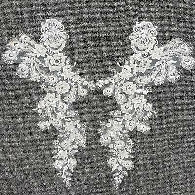1 Pair Flower Embroidery Beads Sequins Lace Applique For Wedding Dress Bridal