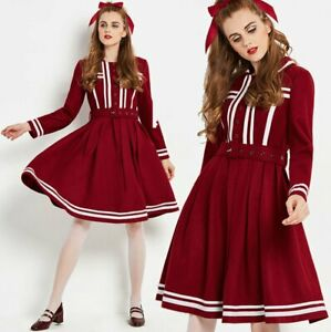 Vintage-1960s-wine-red-fit-and-flare-unique-swing-dress-1950s-50s-60s