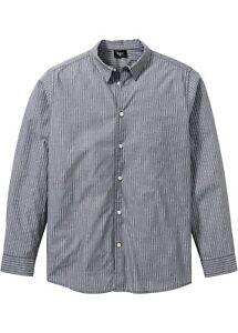 Camicia Maniche Lunghe a Righe tg. 39/40 (M) GRIGIO FUMO UOMO longitudinale manica lunga-Camicia Nuovo