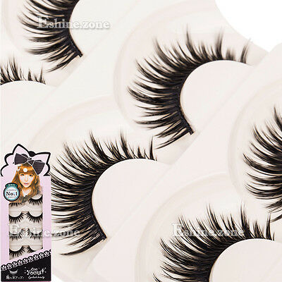 5 Pairs Natural Soft Handmade Makeup Thick Long False Fake Eye Lash Eyelashes
