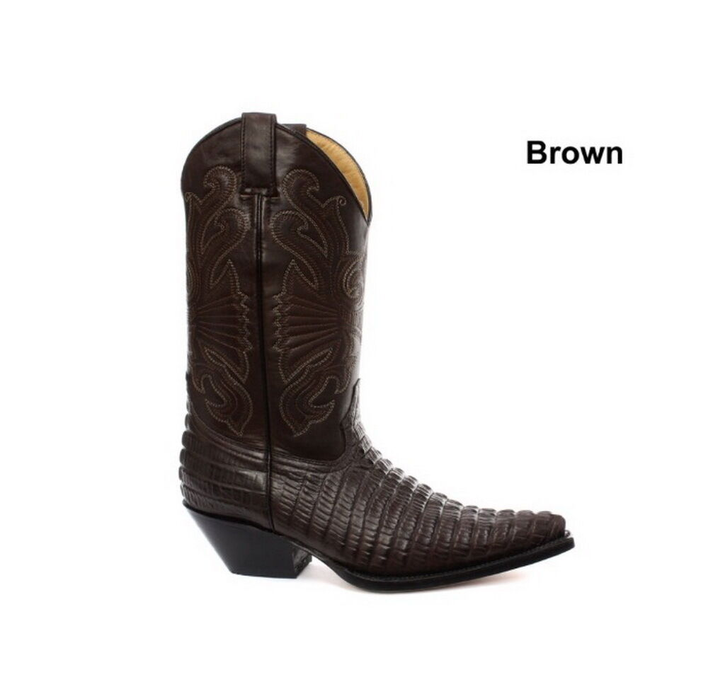 Grinders Carolina Brown Croc Mens Western Cowboy Boots
