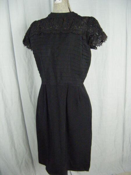 """"""" Ann Kauffman """" Vintage Anni 50 Nero In Pizzo Spalla Pieghe Dress-bust 35/s Buono Per L'Energia E La Milza"""