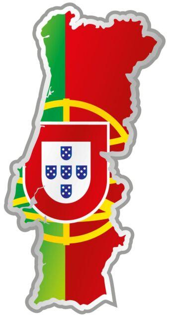"Portugal Map Flag Car Bumper Sticker 3"" x 6"""