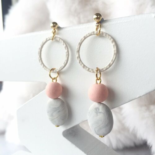 Polymer Clay Beads Surgica Handmade Hoop with Oval Marble Clay Dangle Earrings