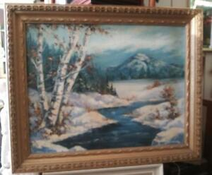 American-Snow-Winter-Landscape-Oil-Painting-Mountain-Birch-Trees-by-Ann-Connolly