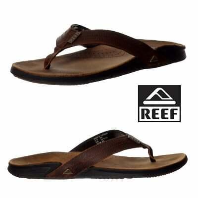 FäHig Reef Mens Jaybay Iii Full Leather Flip Flop Camel Black Brown Bronze Uk9 Uk13 Geschickte Herstellung