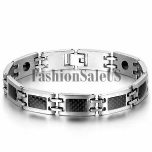Men-Silver-Stainless-Steel-Black-Carbon-Fiber-Magnet-Charm-Bracelet-Bangle-Chain