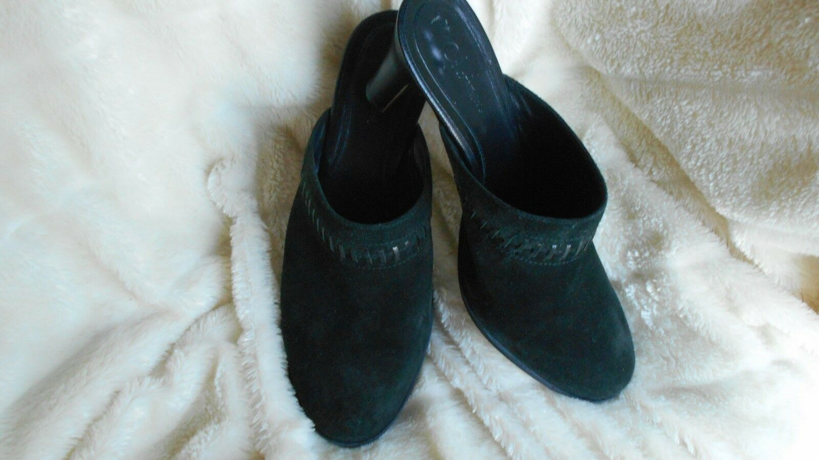 "Women's Cole Haan 3"" Mules Size 7.5 (B,M) Dress Solid Black Suede"