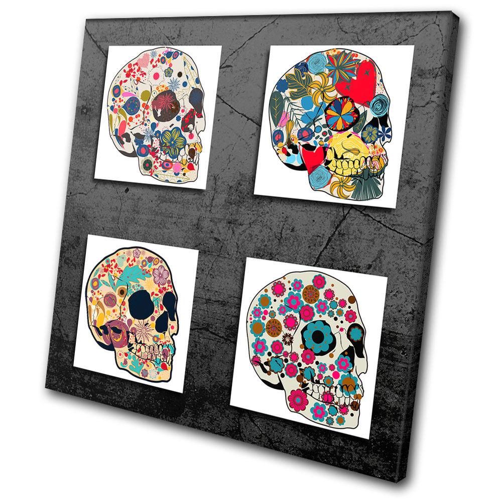 Illustration Floral Skulls Abstract SINGLE SINGLE SINGLE TELA parete arte foto stampa ec3c47