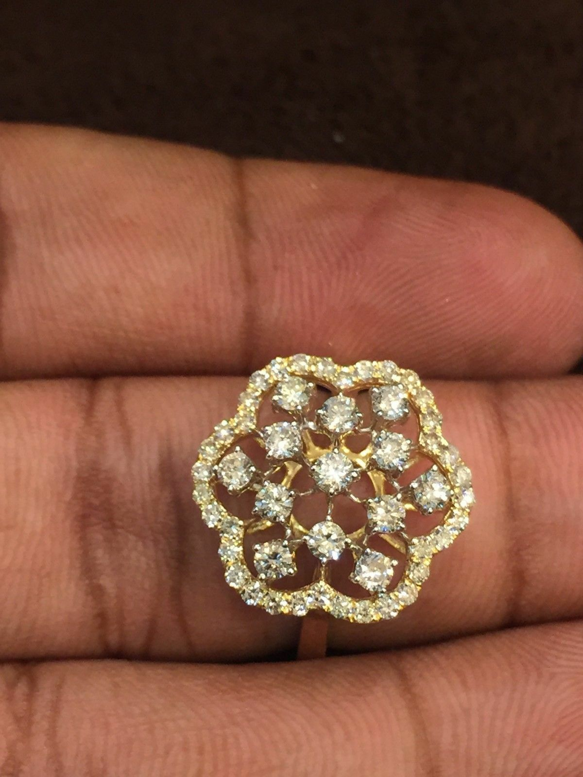 0.95 Cts Round Brilliant Cut Diamonds Engagement Ring In Solid Hallmark 14K gold