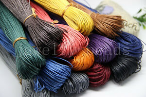 80Meter Waxed Cotton Cord Various Colours Lengths Available Jewelry Craft 1-2mm