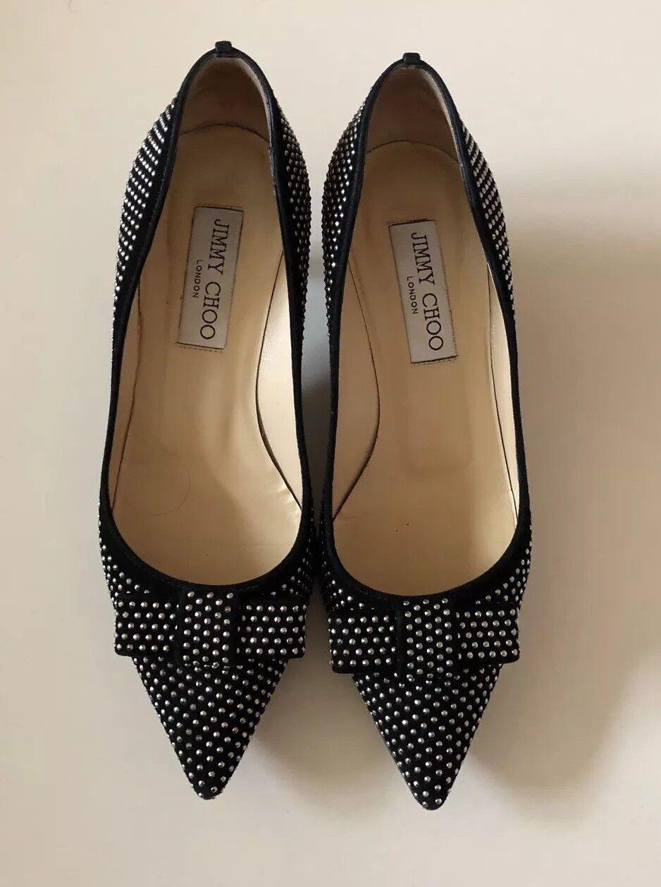 Beautiful Jimmy Choo Black Suede Stud Kitten Heels W Bow - Madeeha 36 Designer