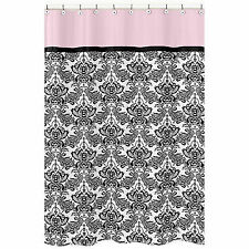 Jojo Designs Pink Black Sophia Damask Kids Bathroom Fabric Bath Shower Curtain