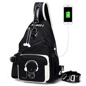 96441ef592d5 Details about Sling Bag with USB Charger Port & Headphone Hole, Men Women  Chest Bag Shoulder