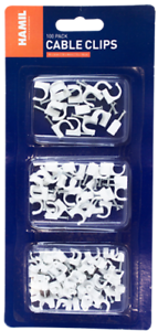 New 100 Pack Cable Clip Set Wire Tidy Round Plastic Clips 6mm 8mm 10mm UK ✔