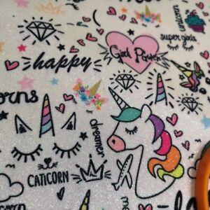 210 MM Glitter Fabric Unicorn Party Rainbow Star  A 4 420 MM 640 MM Wide