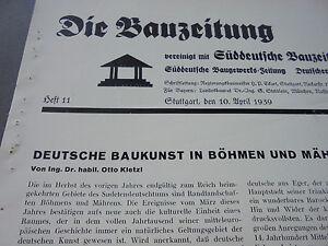 1939 Bauzeitung 11/bohÊme Moravie/maison En Saxe Architecte Lüttgen De Cologne-afficher Le Titre D'origine Cool En éTé Et Chaud En Hiver
