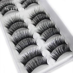 Natural-Fashion-10-Pairs-100-Real-Mink-Hair-Thick-False-Eyelashes-Strip-Lashes