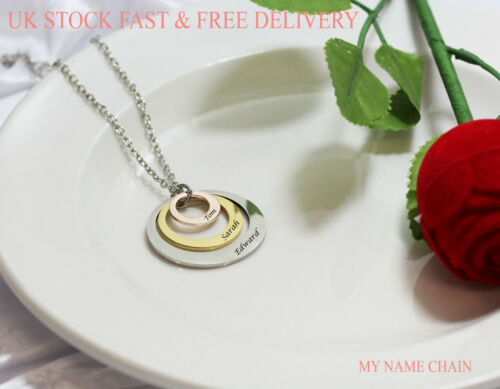 Personalised 3 Ring Tri-Colour Pendant Name Necklace Jewellery Rose Gold Silver