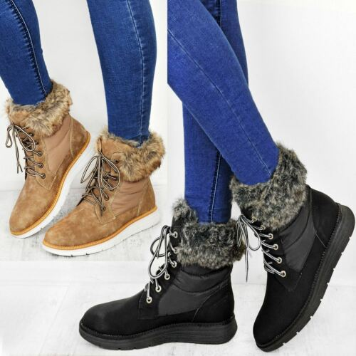 Womens Winter Warm Ankle Boots Low Wedge Heel Fur Fleece Lining Walking Size UK