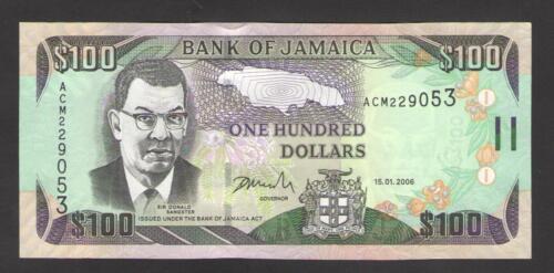 JAMAICA  100  DOLLARS  2006  Prefix ACM  P 84b  UNCIRCULATED