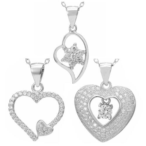 Damen Herz Halskette Liebe Herzkette 925 Silber Silberkette Anhänger Geschenk