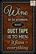 WOMEN WINE & DUCT TAPE METAL SIGN 8X12 MADE IN USA! FUNNY WOMAN CAVE OFFICE BAR