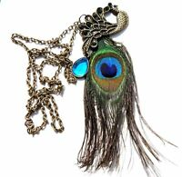 Nice Gorgeous Vintage Rhinestone Blue Eyes Peacock Long Feather Necklace NEW