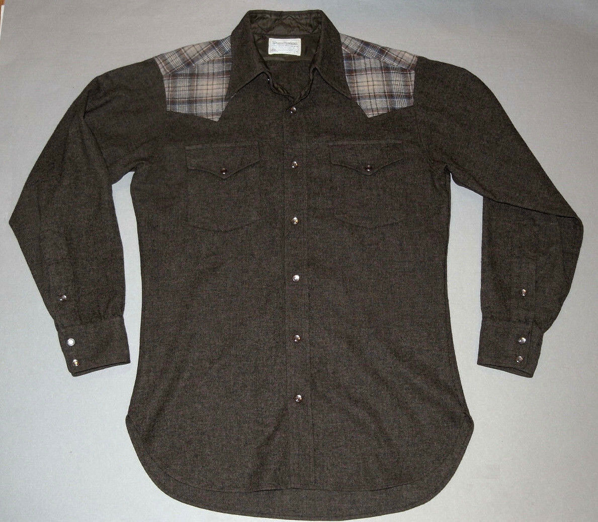PENDLETON HIGH GRADE WESTERN WEAR WOOL SHIRT  BROWN PLAID ACCENT  PEARL SNAPS  M