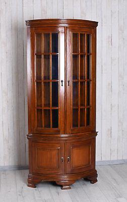 Mobile Ad Angolo Con Vetrina.Vetrina In Vetro Da Angolo Antico Armadietto Angolare Legno
