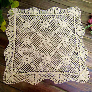 Country Wedding Vintage Hand Crochet Square Cotton Doilies Handmade Ecru Cotton Doilie Pillows Set of Three Doilies Great for Crafts