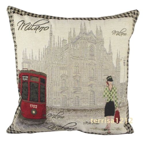 Retro Vintage Milano Church of Duomo Lady Knitted Pillow Case Cushion Cover 18/'/'