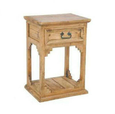 Rustic Open Bottom Nightstand Western Lodge Cabin Real Solid Wood Trim Detail