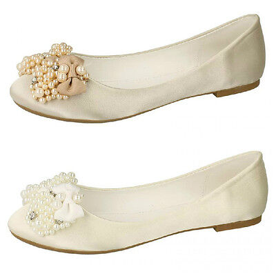 Great Price! F9R648 Ladies Spot On Ivory Slip On Ballerina Style Shoes