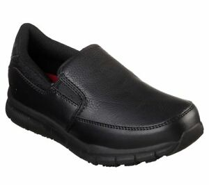 Womens-Skechers-77236-NAMPA-ANNOD-Non-Skid-Slip-On-Resistant-Work-Shoes-Black