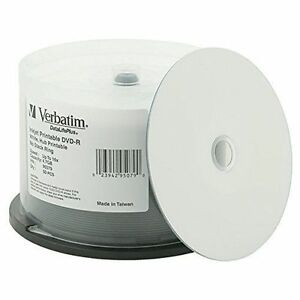 50-VERBATIM-16X-Blank-DVD-R-4-7GB-DataLifePlus-White-Inkjet-Hub-Printable-95079