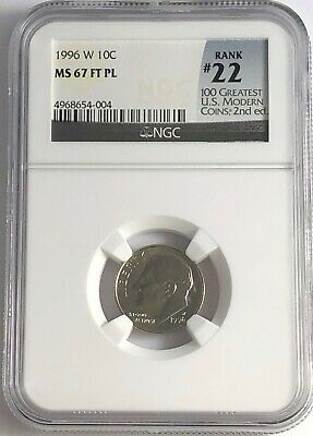 1996 W ROOSEVELT DIME NGC MS65 PL # 22 OF 100 GREATEST US MODERN COIN PROOF LIKE
