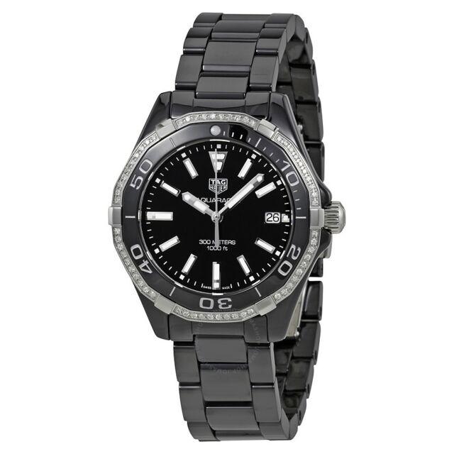 19ed5b6151bd Tag Heuer Women s WAY1395.BH0716  Aquaracer  Diamond Black Ceramic Watch
